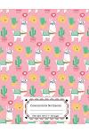 Composition Notebooks Wide Ruled: Composition Notebook Pink Llamas & Cactus: Wide Ruled Cute Notebook for Kids, Girls, Teens, Back to School, Teachers