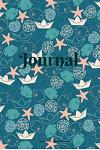 Journal: Teal and Peach Nautical Paper Boats with Starfish, Seashells and Fish Pattern - 6 X 9 Inch - 100 Pages (50 Sheets)