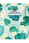 15 Months Planner October 2017 - December 2018, Monthly Calendar with Daily Planners, Passion/Goal Setting Organizer, 8x10, Mint Teal Tropical Leaf Wh