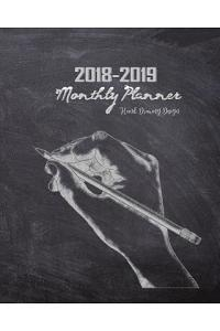 2018-2019 Monthly Planner Hand Drawing Design: 18 Months Calendar Yearly Goals Monthly Task Checklist Organization July 2018 to December 2019