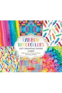 Rainbow Watercolors Gift Wrapping Papers: 6 Sheets of High-Quality 24 X 18 Inch Wrapping Paper