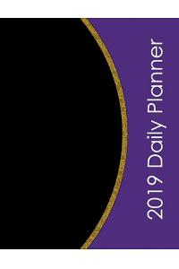 2019 Daily Planner: Horizontal Format 8.5x11 in - Full Weekly View - Purple + Gold Leaf Texture - Classic Schedule Manager for 365 Days -