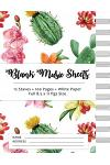 Blank Music Sheets: Cactus Design - 12 Staves, 100 Pages, Full Paper Size (8.5*11)
