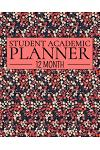 12 Month Student Academic Planner: Red Vintage Floral Theme 12-Month Study Calendar Helps Elementary, High School and College Students Prioritize and